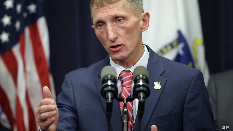 Boston Police Commissioner William Evans comments, May 2, 2017, during a press conference at the Statehouse in Boston.