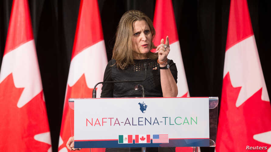 Chrystia Freeland, Canada's Minister of Foreign Affairs, speaks to the media following NAFTA renegotiations in Montreal, Quebec, Canada, Jan. 29, 2018.