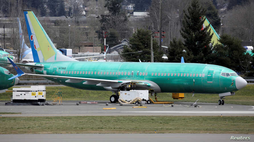 A Boeing 737 Max 8 aircraft bearing the logo of China Southern Airlines is parked at a Boeing production facility in Renton, Washington, March 11, 2019.