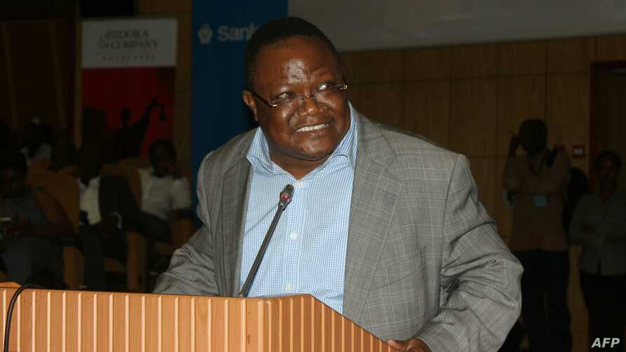 FILE - Tanzanian opposition politician Tundu Lissu speaks during the Tanganyika Law Society (TLS) annual meeting in Arusha, during which he was elected as president, March 17, 2017.