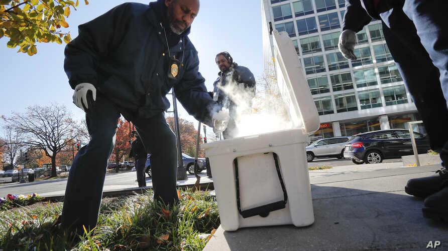 Pest Control Officer Gregory Cornes  uses a trowel to scoop up dry ice before dropping it directly into rat burrows, as his co-worker Curtis Redman assists, near the Capitol in Washington, Nov. 21, 2018.