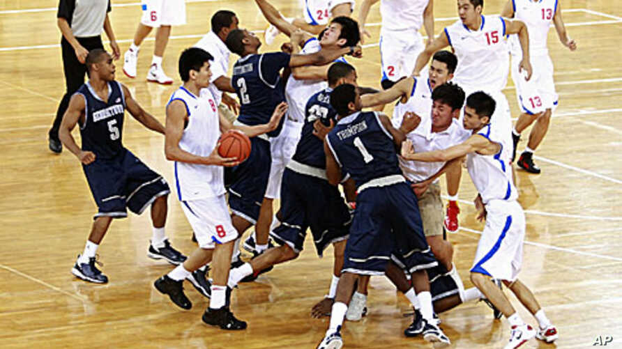 US, China Goodwill Basketball Match Ends in Brawl   Voice of
