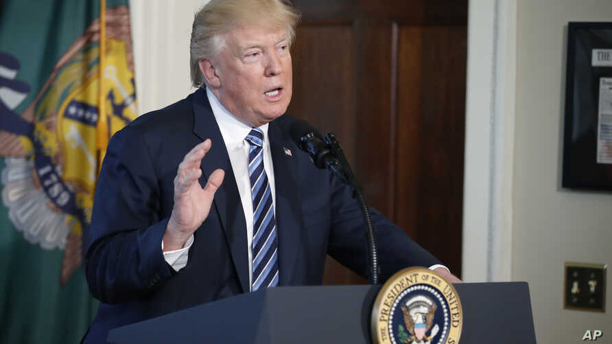 President Donald Trump speaks at the Treasury Department, April 21, 2017, in Washington.
