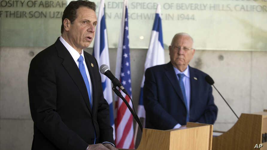 The Governor of New York Andrew M. Cuomo, left, and Israeli President Reuven Rivlin speak to the media at the Yad Vashem Holocaust memorial, in Jerusalem, March 5, 2017.
