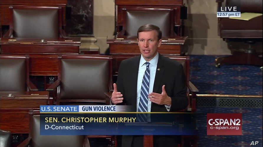"This frame grab provided by C-SPAN shows Sen. Chris Murphy, D-Conn. ""seized the floor"" of the Senate on Capitol Hill in Washington, where he was demanding a vote on gun control measures, June 15, 2016."