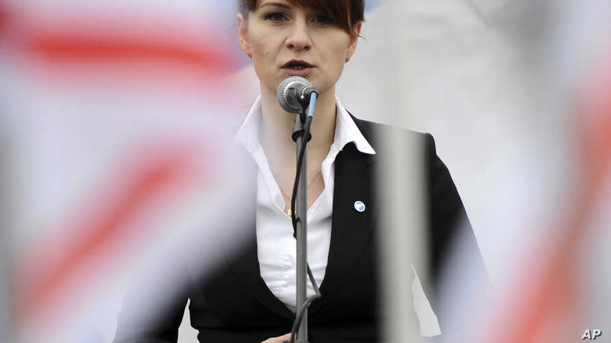 FILE - Maria Butina speaks at a rally in support of legalizing the possession of handguns, in Moscow, Russia, April 21, 2013.