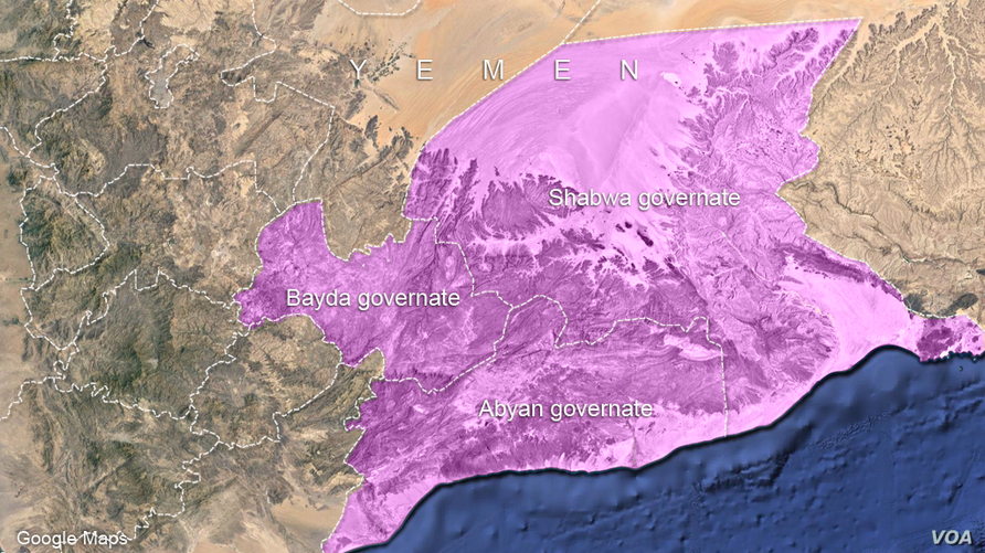 Bayda, Shabwa and Abyan governates, in yemen