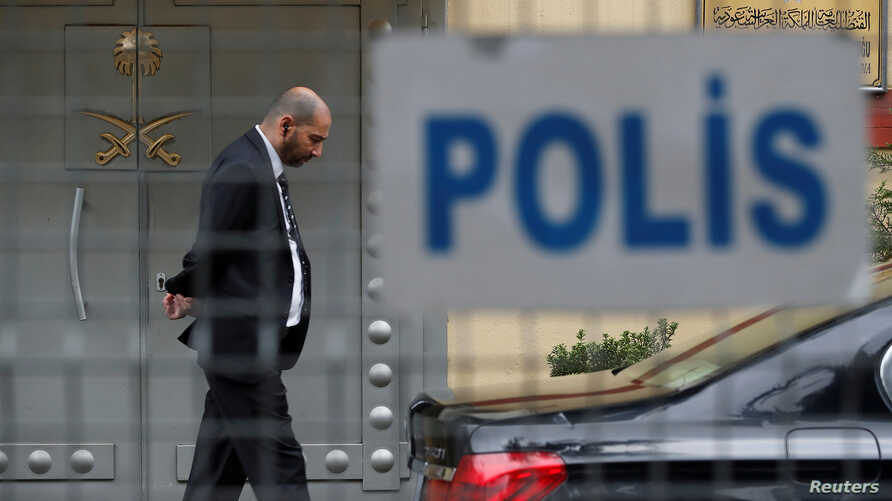 A member of security staff stands at the entrance of Saudi Arabia's consulate in Istanbul, Oct. 20, 2018.