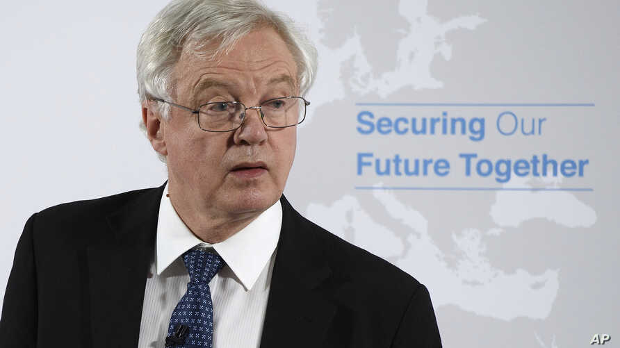 Britain's Secretary of State for Exiting the European Union David Davis delivers a speech in London, on Britain's vision for the future security relationship with the EU, June 6, 2018.