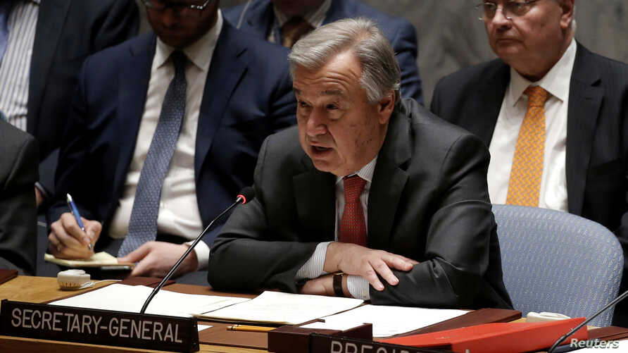 United Nations Secretary General Antonio Guterres addresses a meeting of the U.N. Security Council on South Sudan at U.N. headquarters in New York City, March 23, 2017.