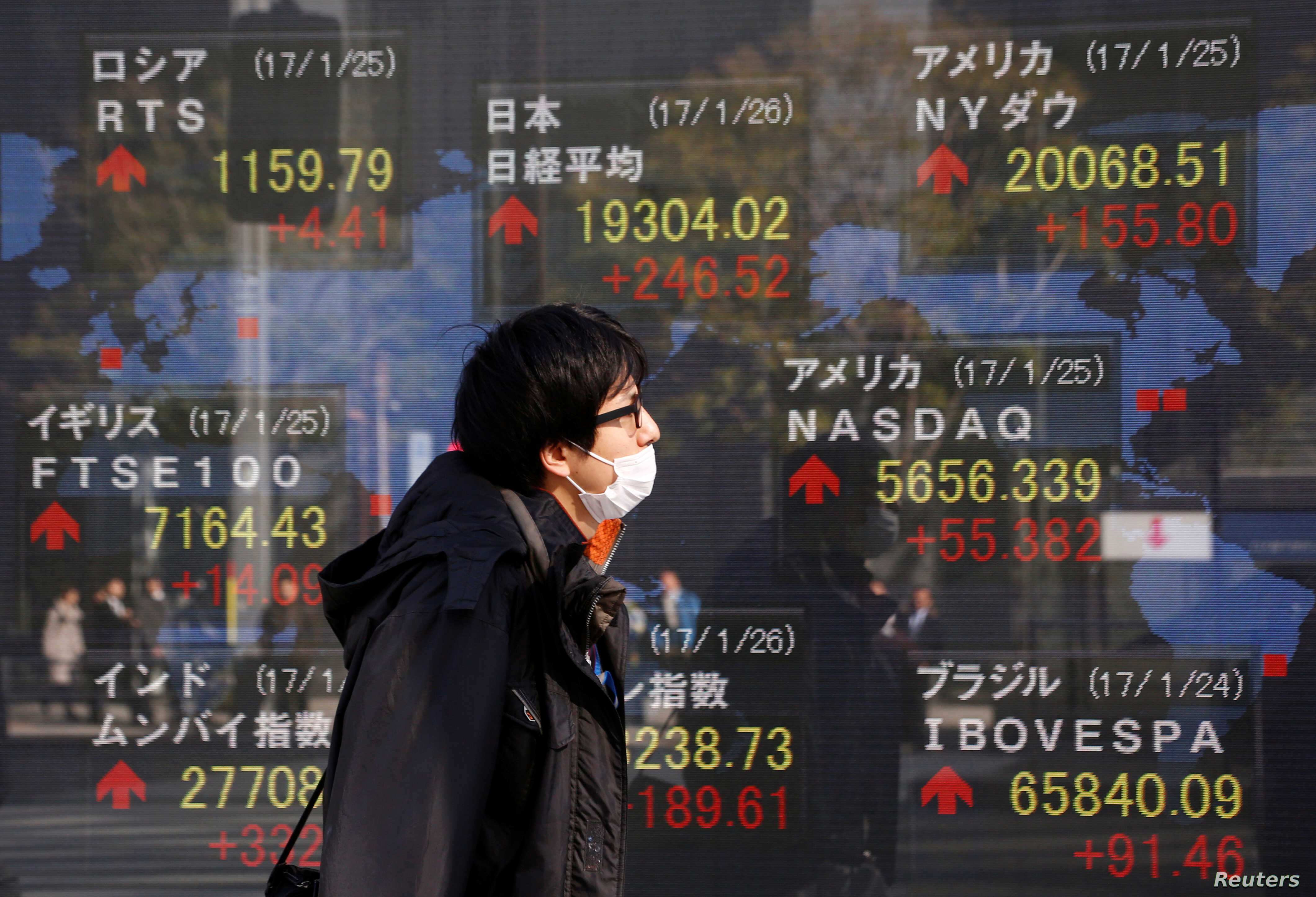 A man walks past an electronic board showing Japan's Nikkei average, top left, the Dow Jones average, top right, and the stock averages of other countries' outside a brokerage in Tokyo, Japan, Jan. 26, 2017.