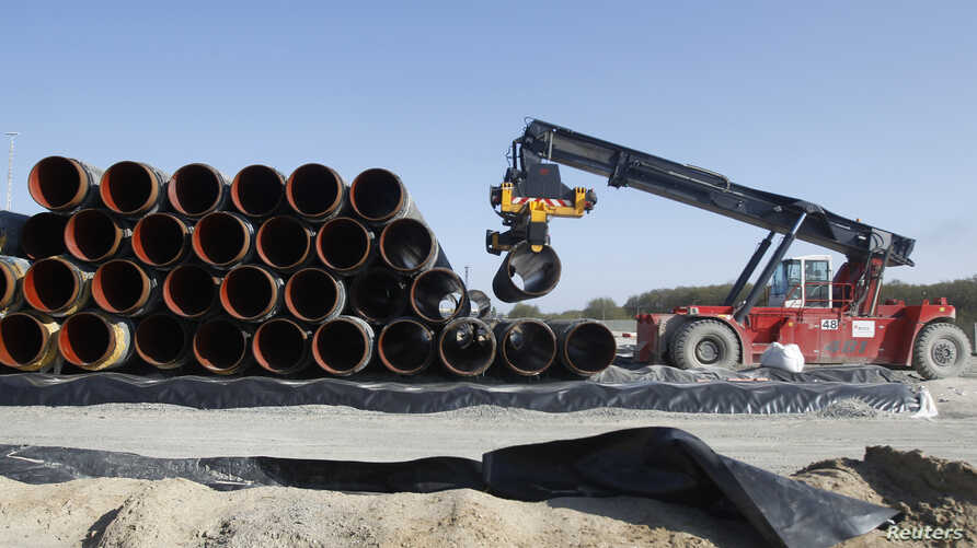 FILE - Pipes are piled up at a storage area at French pipe coating company EUPEC in Sassnitz, May 6, 2011. EUPEC is working to complete around 200,000 pipes for Nord Stream, which is building two 1,220 km-long roughly parallel gas pipelines across th
