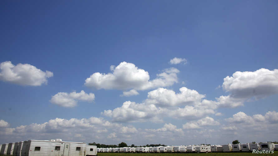 FILE - FEMA trailers await workers to evacuate them in Krotz Springs, Louisiana, May 13, 2011.