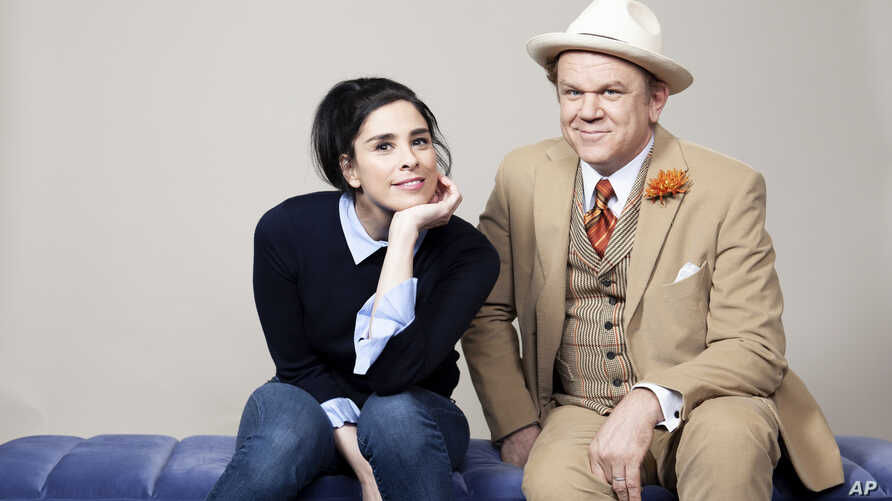 "Sarah Silverman, left, and John C. Reilly pose for a portrait at The Beverly Hilton Hotel in Beverly Hills, California., to promote their film """"Ralph Breaks the Internet,"" Nov. 3, 2018."