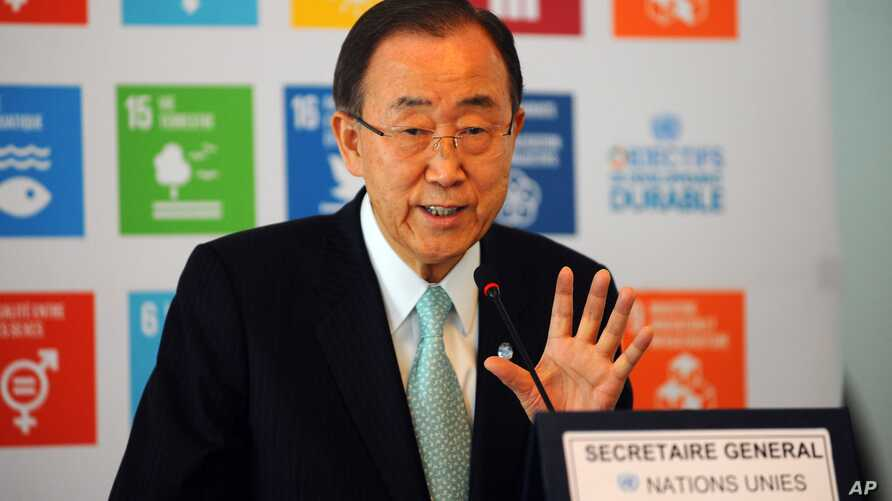 FILE - U.N. chief Ban Ki-moon speaks during a press conference at Tunis-Carthage Airport in Tunis, Tunisia, March 29, 2016. A U.N. conference April 7-8 on terrorism will focus on measures to prevent violent extremism from gaining a foothold and sprea