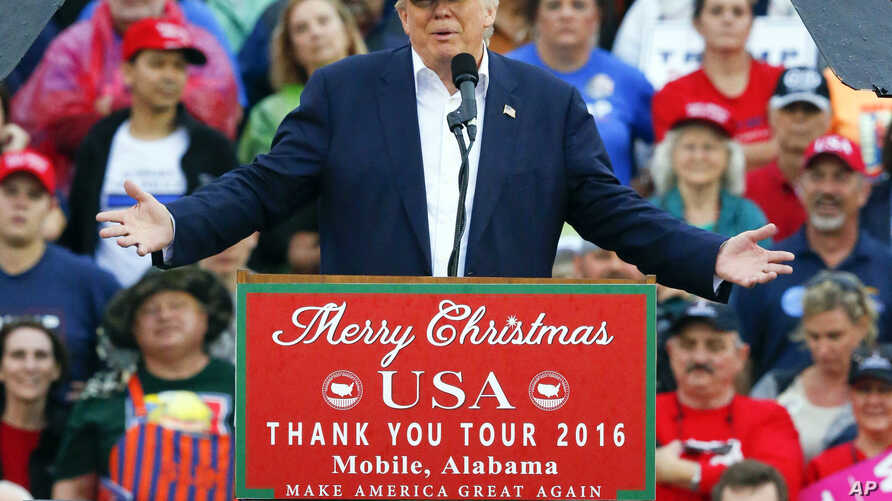 President-elect Donald Trump speaks during a rally at the Ladd–Peebles Stadium, Dec. 17, 2016, in Mobile, Ala.
