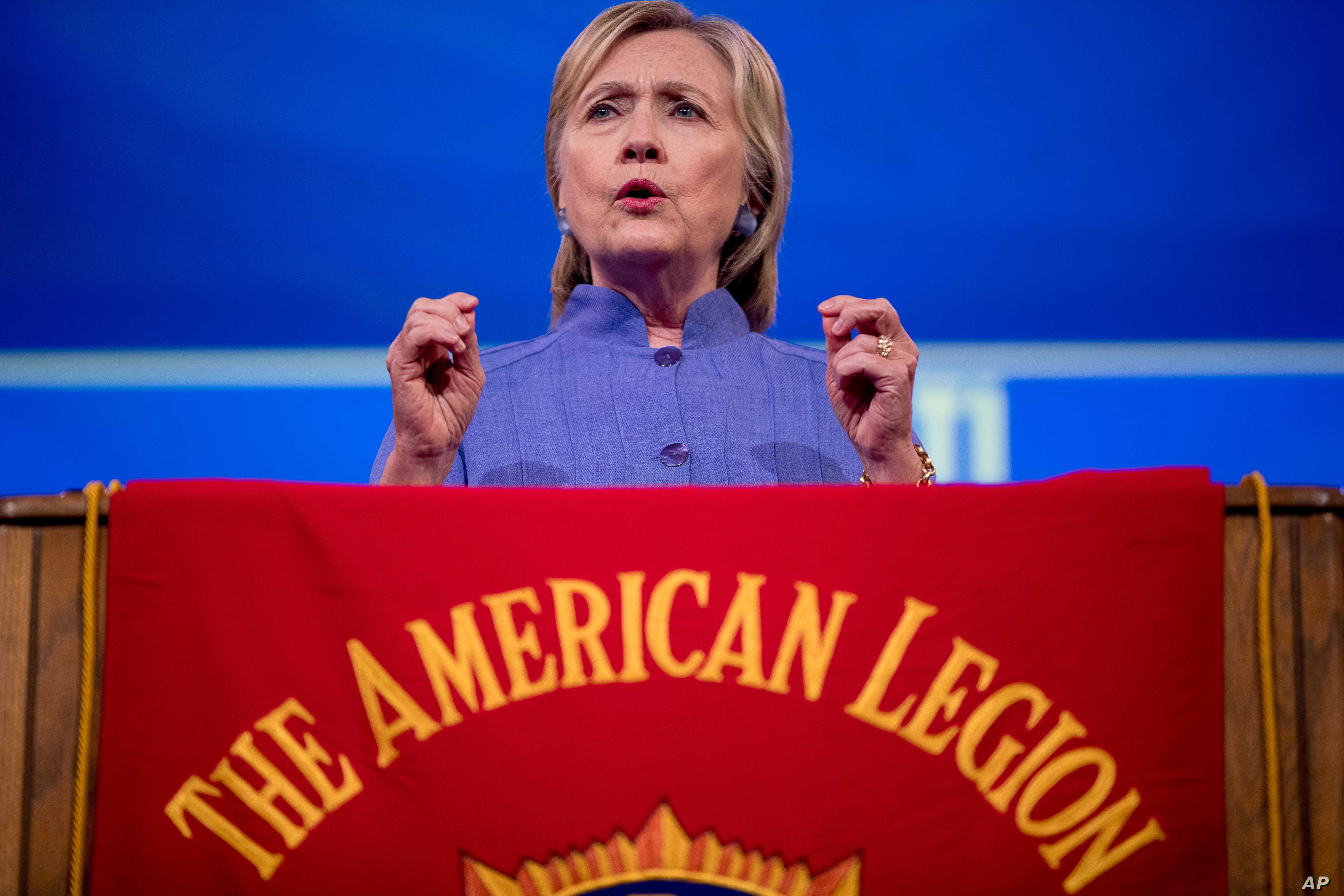 Democratic presidential candidate Hillary Clinton speaks at the American Legion's 98th Annual Convention at the Duke Energy Convention Center in Cincinnati, Ohio, Aug. 31, 2016.