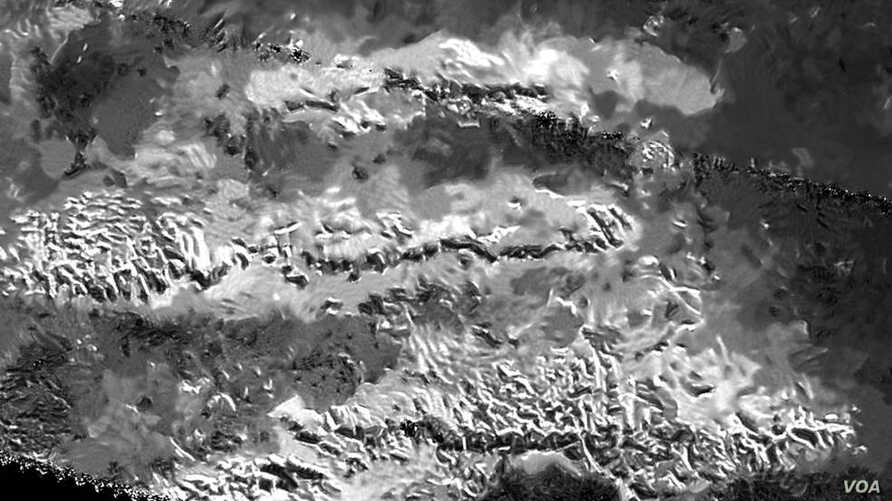 The trio of ridges on Titan known as Mithrim Montes is home to the hazy Saturnian moon's tallest peak.