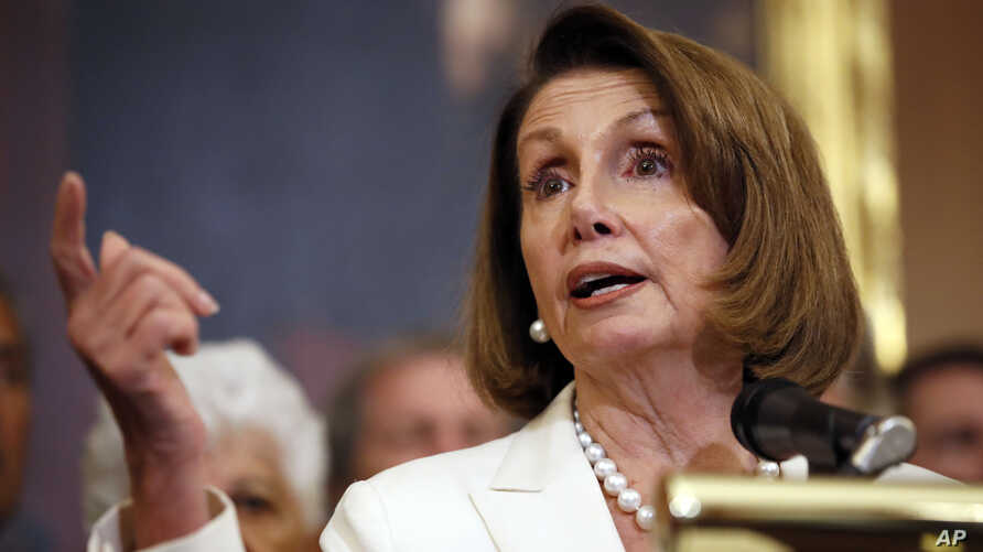 FILE - House Minority Leader Nancy Pelosi of California speaks during a news conference on Capitol Hill, Sept. 26, 2018, in Washington.