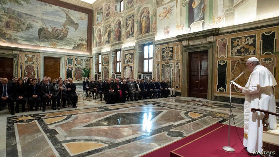 Pope Francis attends an audience with the Officials of the Vatican Secret Archive at the Vatican, March 4, 2019.