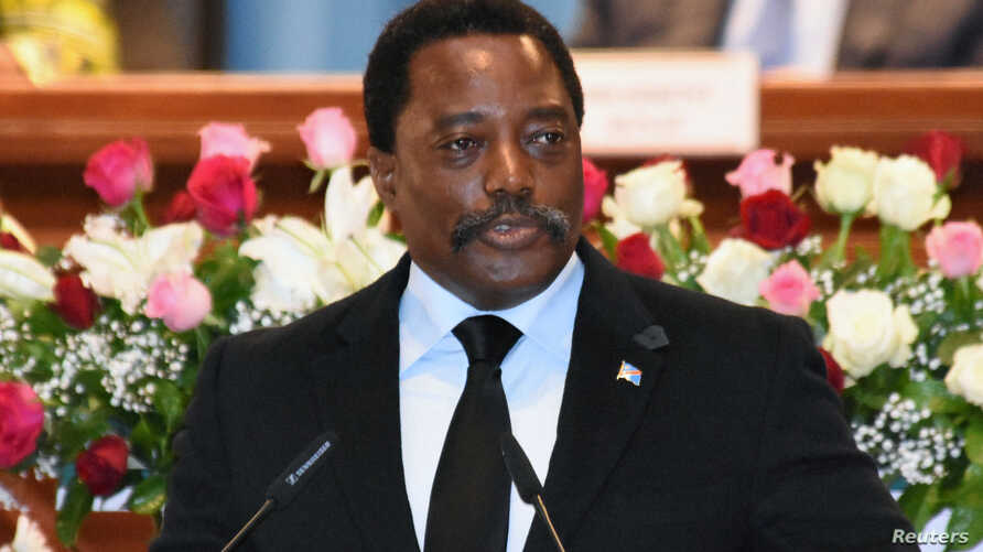 Democratic Republic of Congo's President Joseph Kabila addresses the nation at Palais du Peuple in Kinshasa, Democratic Republic of Congo, April 5, 2017.