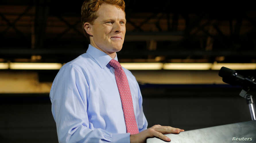 U.S. Rep. Joe Kennedy III (D-MA) takes the stage to deliver the Democratic rebuttal to U.S. President Donald Trump's State of the Union address in Fall River, Massachusetts, Jan. 30, 2018.