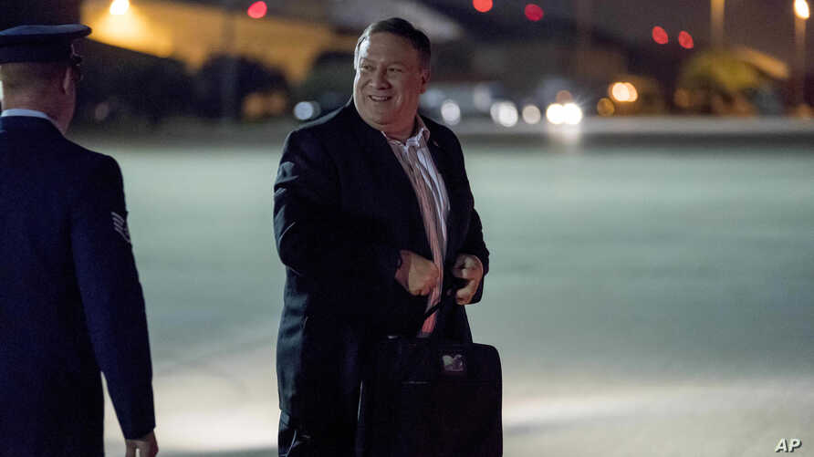 U.S. Secretary of State Mike Pompeo boards his plane at Andrews Air Force Base, Md., July 5, 2018, to travel to Anchorage, Alaska on his way to Pyongyang, North Korea.