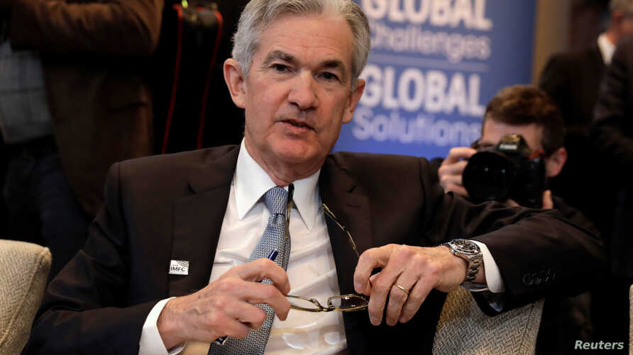 FILE - Federal Reserve Chairman Jerome Powell attends IMFC plenary during the IMF/World Bank spring meeting in Washington, April 21, 2018.