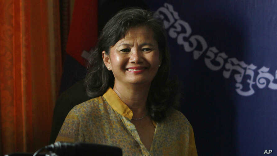 FILE - Mu Sochua, a member of the opposition Sam Rainsy Party, says Cambodian women, regardless of political affiliation, often decide not to stand for office because they are not sure of their ability.