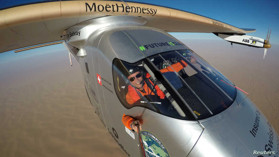 FILE - Selfie picture shows Swiss pioneer Bertrand Piccard during the last leg of the round the world trip with Solar Impulse 2 over the Arab peninsula, July 25, 2016.