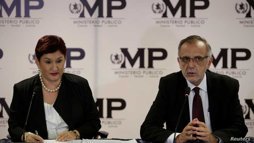 Commissioner of the International Commission Against Impunity in Guatemala (CICIG) Ivan Velasquez (R) and Guatemala's Attorney General Thelma Aldana, hold a news conference in Guatemala City, Guatemala, August 24, 2017.