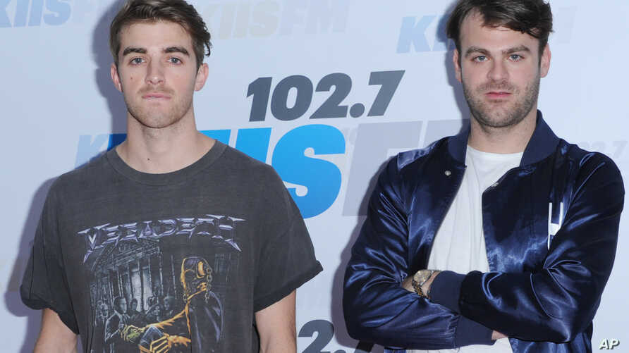 Andrew Taggart, left, and Alex Pall, of The Chainsmokers, arrive at Wango Tango at StubHub Center in Carson, California.