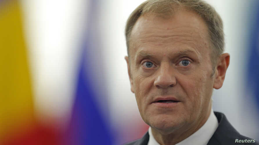 European Council President Donald Tusk addresses the European Parliament during a debate in Strasbourg, France, Oct. 27, 2015.