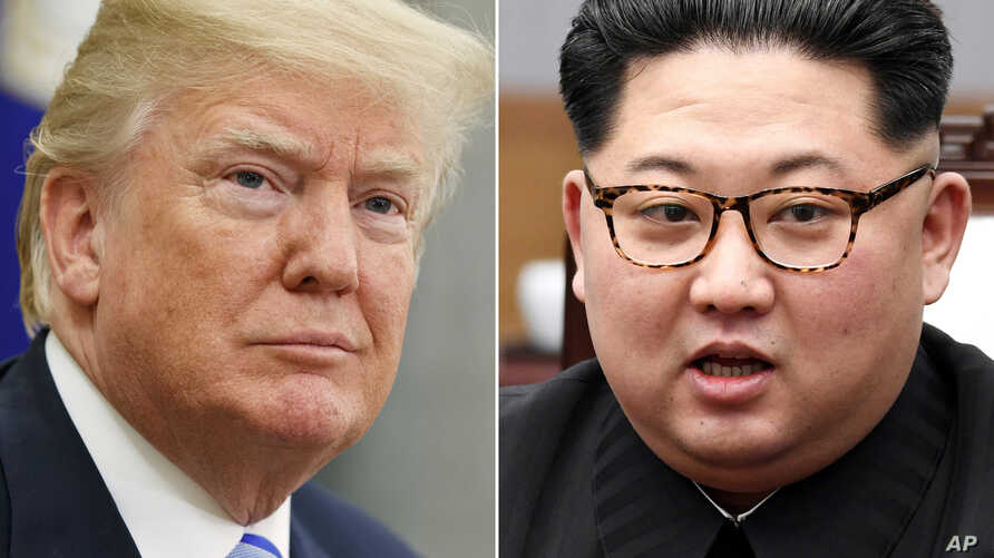 FILE- In this combination of file photos, U.S. President Donald Trump, left, in the Oval Office of the White House in Washington on May 16, 2018,  and North Korean leader Kim Jong Un in a meeting with South Korean leader Moon Jae-in in Panmunjom, Sou...
