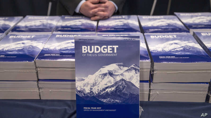 Copies of President Barack Obama's fiscal 2017 federal budget are displayed by the Senate Budget Committee, Feb. 9, 2016, on Capitol Hill in Washington.