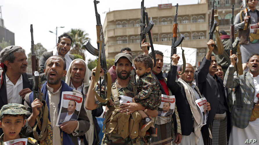 Supporters of Yemen's Houthi rebels attend a rally in Sanaa, April 26, 2018, against the killing of their political chief Saleh al-Sammad, in a Saudi-led air strike. Saudi Arabia media is reporting an airstrike on a Houthi meeting that killed two le