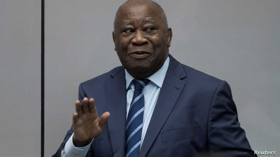 Former Ivory Coast President Laurent Gbagbo appears before the International Criminal Court in The Hague, Netherlands, Jan. 15, 2019.