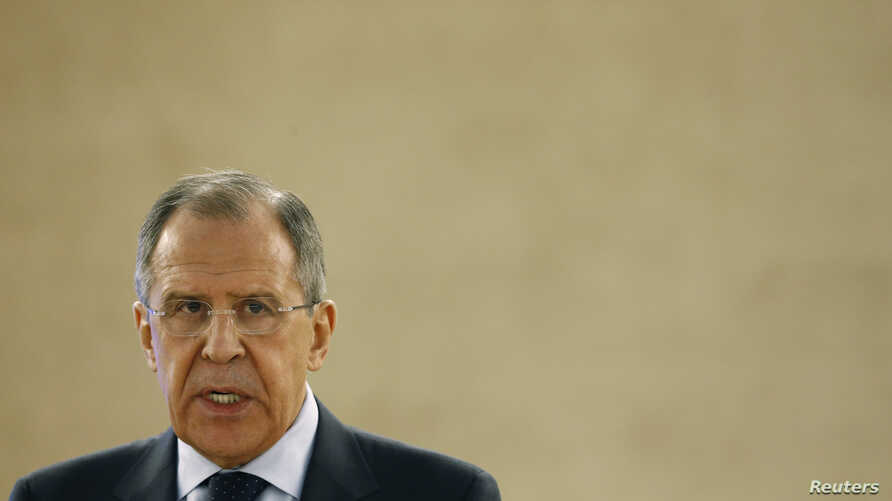 FILE - Russian Foreign Minister Sergei Lavrov addresses the 28th Session of the Human Rights Council at the United Nations in Geneva, March 2, 2015.