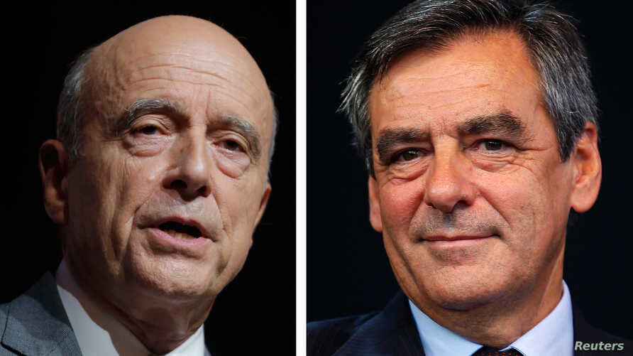 A combination of file photos shows Alain Juppe (L), current mayor of Bordeaux and Francois Fillon, a former prime minister, who lead in the first round French center-right presidential primary election, Nov. 20, 2016.