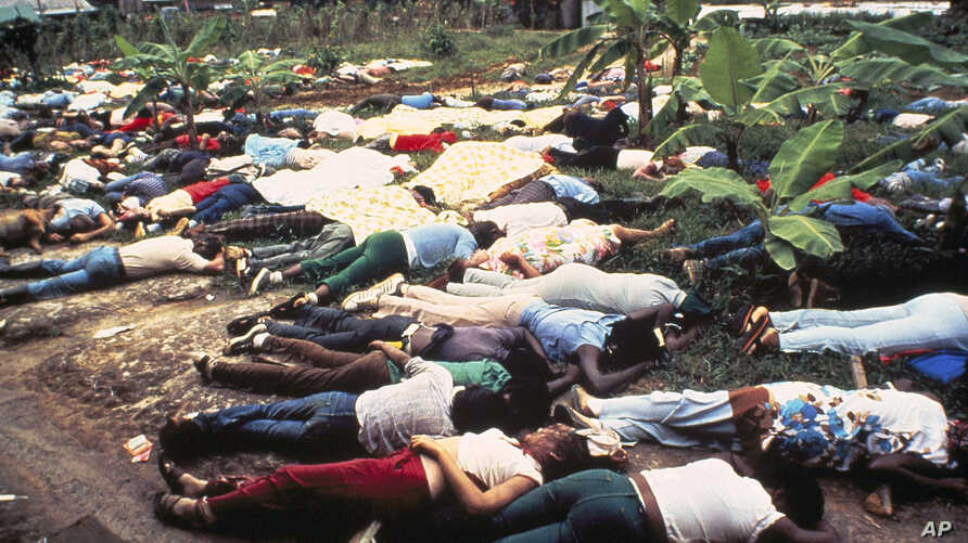 Bodies of People's Temple mass suicide cult victims led by Jim Jone's in Jonestown, Guyana, 1978.