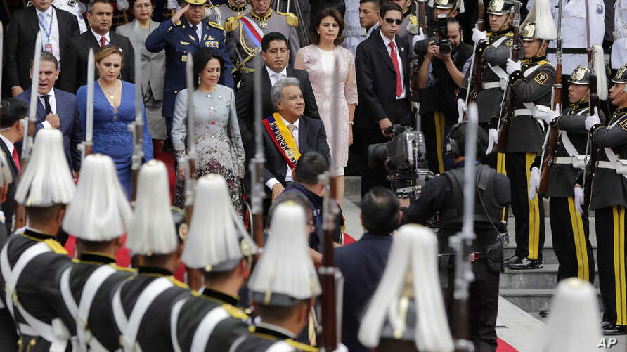 Ecuador's newly sworn-in President Lenin Moreno leaves the National Assembly, in Quito, Ecuador, May 24, 2017.