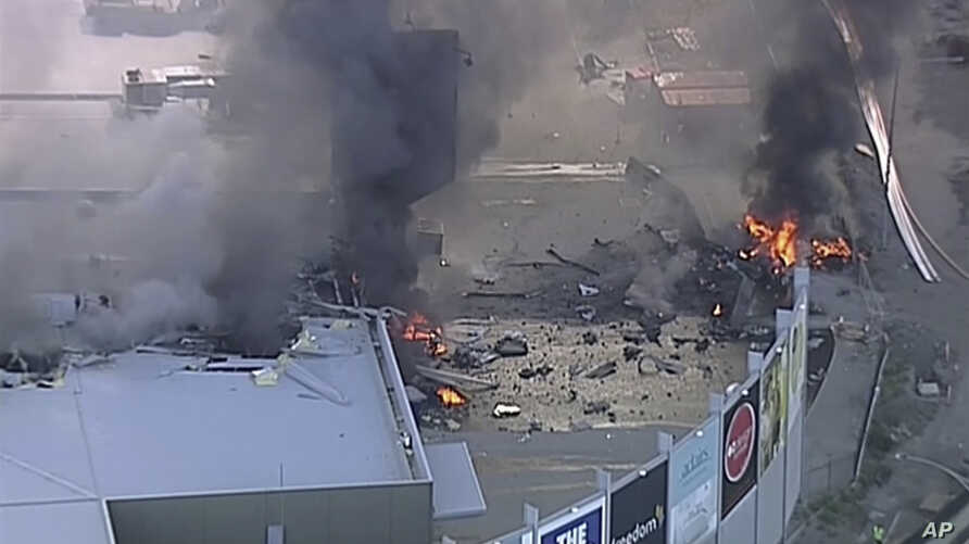 Australia Plane CrashThis image made from video shows the site of a plane crash at Essendon Airport in Melbourne, Australia, Feb. 21, 2017.