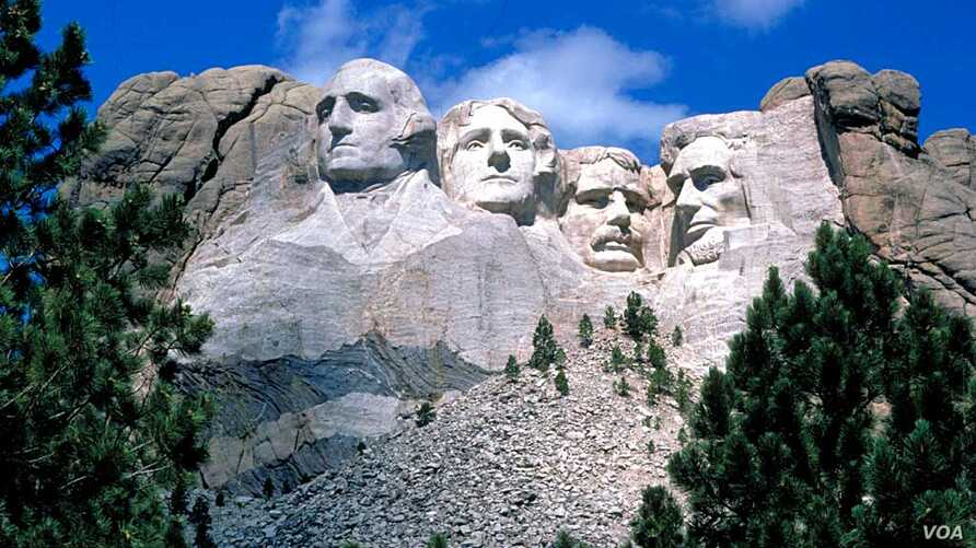Photo shows the Mount Rushmore National Memorial, a massive sculpture depicting four U.S. presidents which was carved into Mount Rushmore in the disputed Black Hills region of South Dakota.