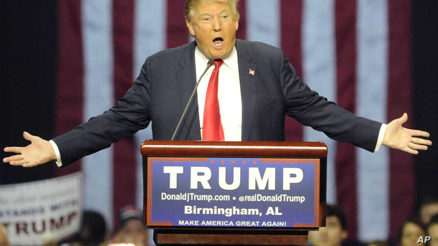 Republican presidential candidate Donald Trump speaks during a campaign stop in Birmingham, Alabama, Nov. 21, 2015.