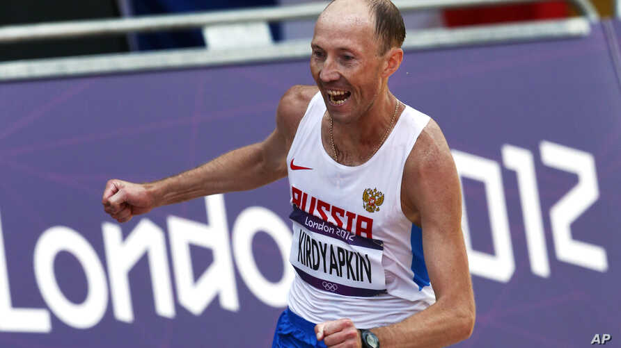 Russian athlete Sergei Kirdyapkin, seen in this file photo when he won the gold medal in the men's 50-kilometer race walk at the 2012 Summer Olympics in London, would be stripped off his medal according to Court of Arbitration for Sport (CAS).
