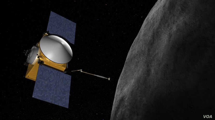 Artist concept of OSIRIS-REx. The OSIRIS-REx spacecraft is to launch in 2016, reach asteroid (101955) 1999 RQ36 in 2019, examine it up close during a 505-day rendezvous, then return at least 60 grams of it to Earth in 2023. (Credit: NASA/Goddard/Univ