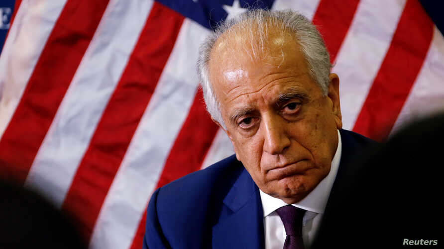 FILE - U.S. special envoy for peace in Afghanistan, Zalmay Khalilzad, talks with local reporters at the U.S. embassy in Kabul, Afghanistan, Nov. 18, 2018.