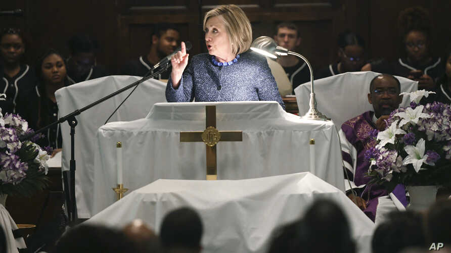 "Former Secretary of State Hillary Clinton speaks during a commemorative service marking the anniversary of ""Bloody Sunday""  at Brown Chapel AME Church in Selma, Ala., March 3, 2019."