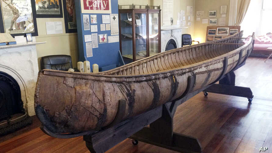 One of the oldest-known Native American birch-bark canoes, dated from the mid-1700's, is displayed at the Pejepscot Museum & Research Center in Brunswick, Maine, Oct. 5, 2017.