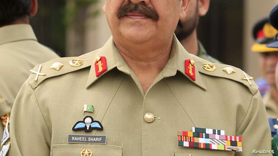 FILE - Pakistan's Army Chief of Staff General Raheel Sharif attends a ceremony at the Nur Khan air base in Islamabad, May 9, 2015.